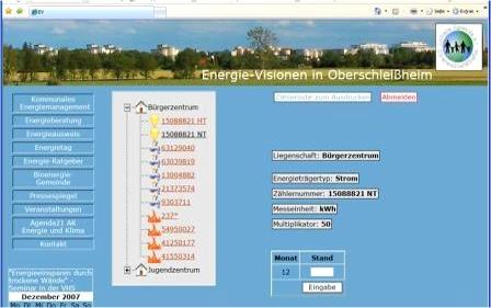 Internett-Plattform für Energieprojekte und für Energiedatenerfassung