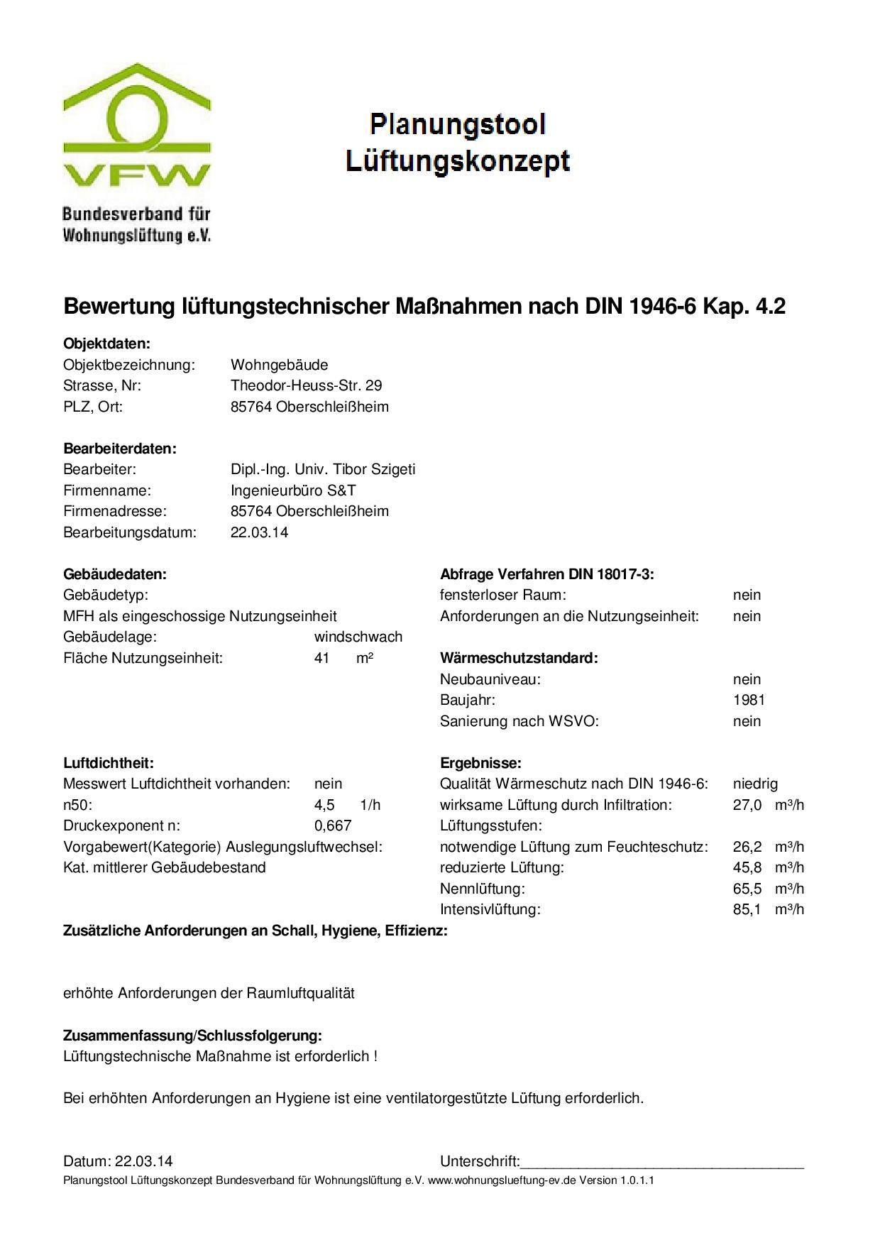 Lüftungskonzept für Wohngebäude nach DIN 1946-6